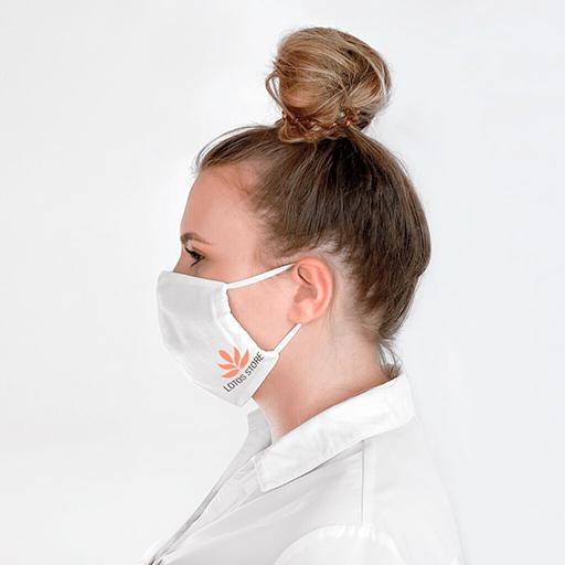 Bild: Weisse Mundschutzmaske Mit Logo.Masken kaufen