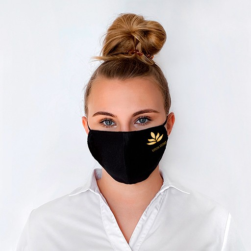 Bild: Schwarze Mundschutzmaske Mit Logo. Masken kaufen